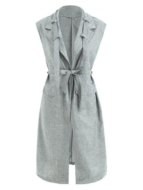 Space Dyed Pattern Long Sleeveless Blazer - GRAY XL