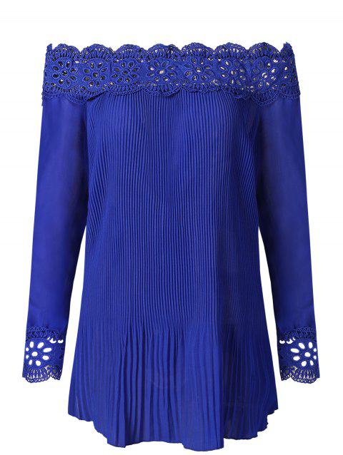 Off The Shoulder Pleated Blouse - ROYAL BLUE XL