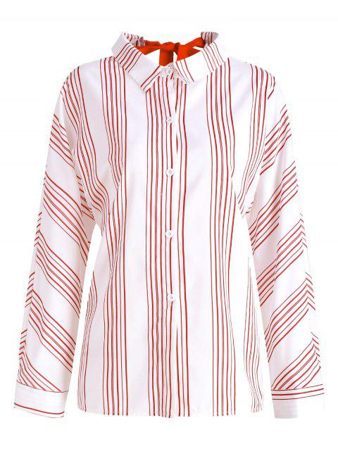 Tie Back Striped Button Up Shirt - WHITE L