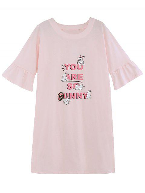 Bunny Print Sleeping Dress - PIG PINK L