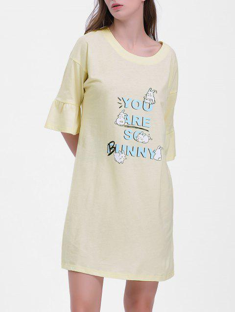 Bunny Print Sleeping Dress - CORNSILK L