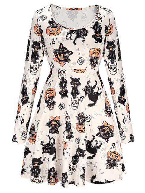 Halloween Print Skater Dress - BLANCHED ALMOND 2XL
