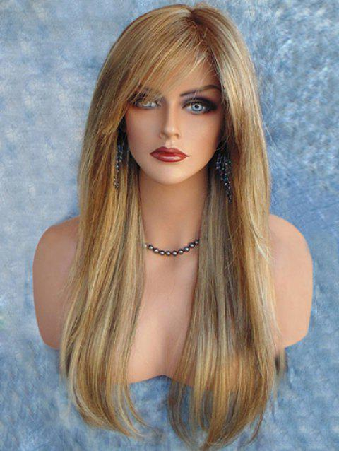 Long Colormix Side Bang Capless Straight Synthetic Wig - multicolor