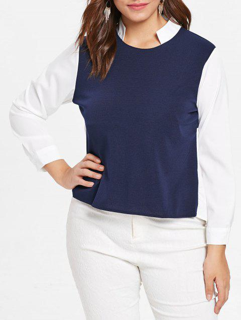 Color Block Plus Size Stand Collar Shirt - MIDNIGHT BLUE 5X