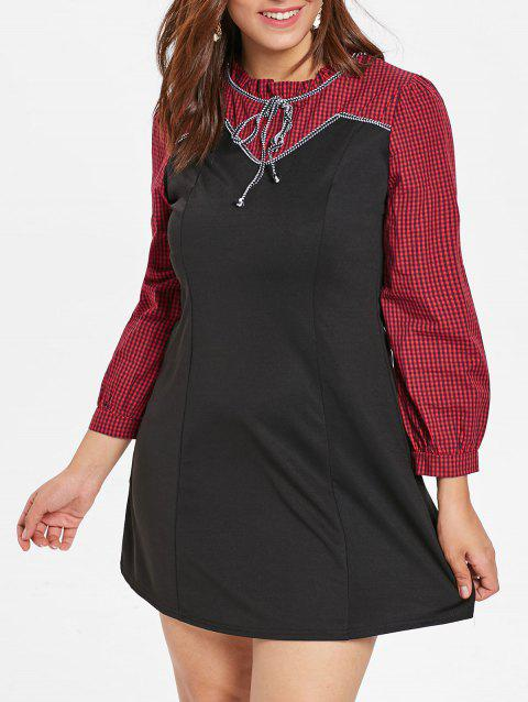 Plus Size Tied Gingham Print A Line Dress - BLACK 4X