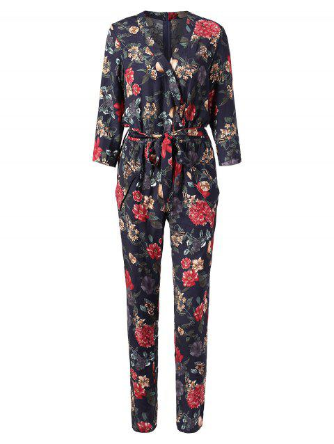 Floral Print Faux Wrap Jumpsuit - multicolor 2XL