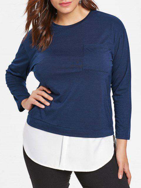 Plus Size Long Sleeve Two Tone T-shirt - MIDNIGHT BLUE 5X
