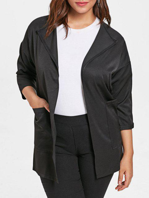 Plus Size Wide Waisted Turn Down Collar Coat - BLACK L