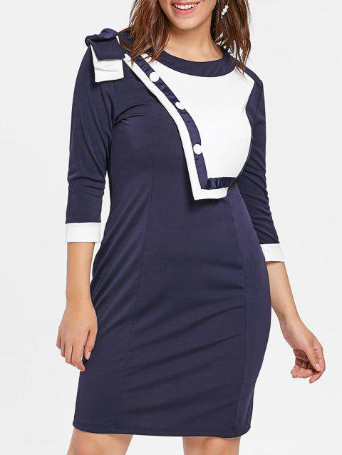 Plus Size Contrast Sheath Dress - DEEP BLUE 2X