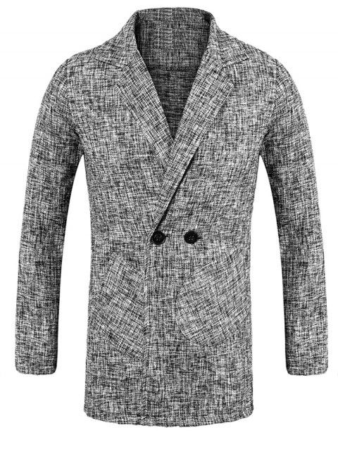 Double Breasted Lapel Collar Space Dye Blazer - GRAY M