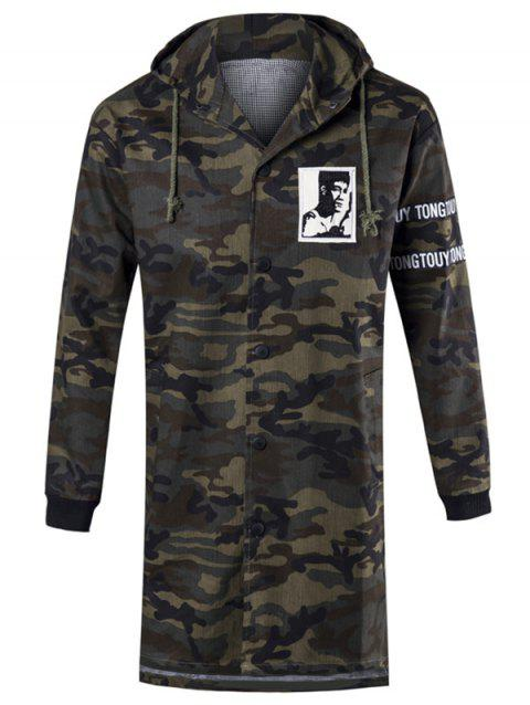 Graphic Letter Print Hooded Camo Coat - ARMY GREEN M