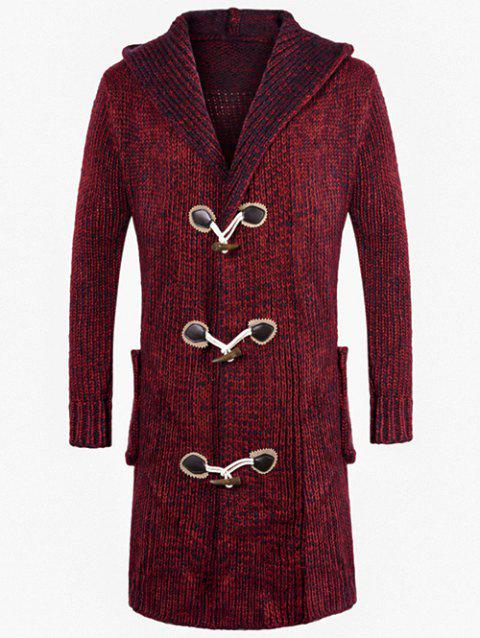 Longline Space Dye Duffle Hooded Cardigan - RED WINE 2XL