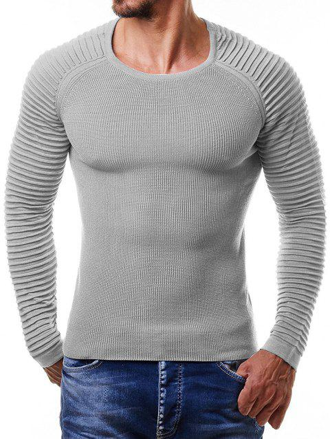 Pleated Raglan Sleeve Pullover Sweater - GRAY M