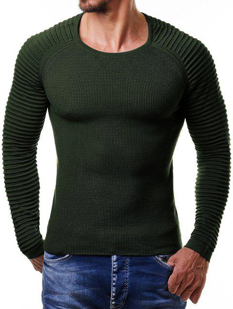 Pleated Raglan Sleeve Pullover Sweater - ARMY GREEN L