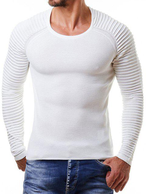 Pleated Raglan Sleeve Pullover Sweater - WHITE L