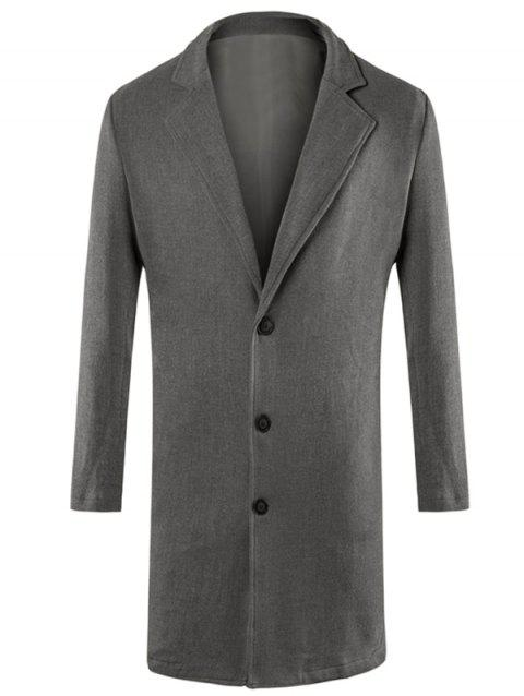 Lapel Collar Single Breasted Longline Blazer - GRAY L