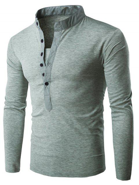 Solid Stand Collar Long Sleeve T-shirt - LIGHT GRAY L