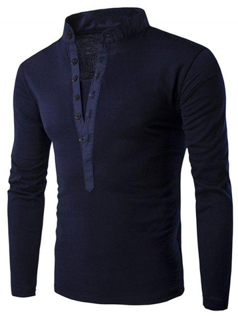 Solid Stand Collar Long Sleeve T-shirt - CADETBLUE L