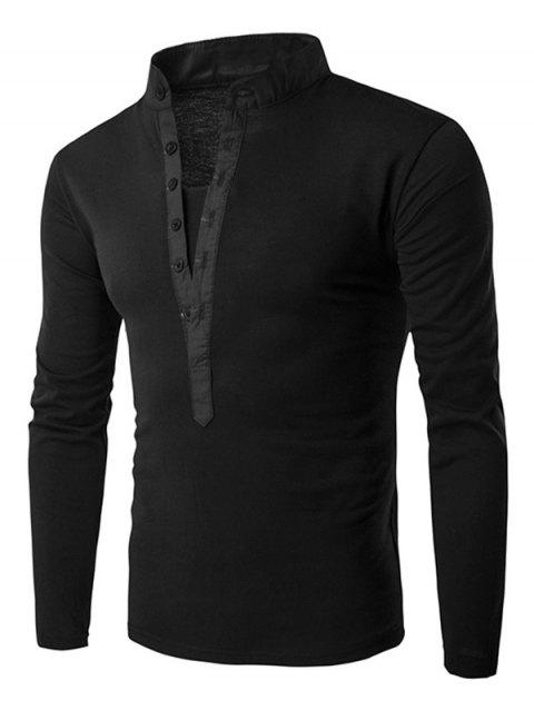 Solid Stand Collar Long Sleeve T-shirt - BLACK XL