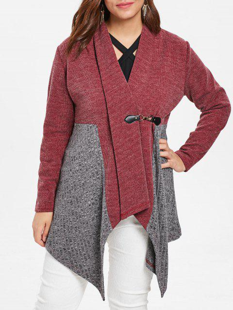 Plus Size Shawl Collar Contrast Cardigan - RED WINE 1X