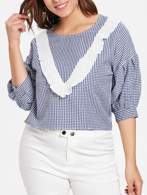 Plus Size Ruffle Gingham Shirt - BLUE 4X