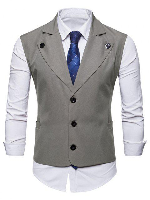 Solid Color Pockets Slim Fit Vest - GRAY M