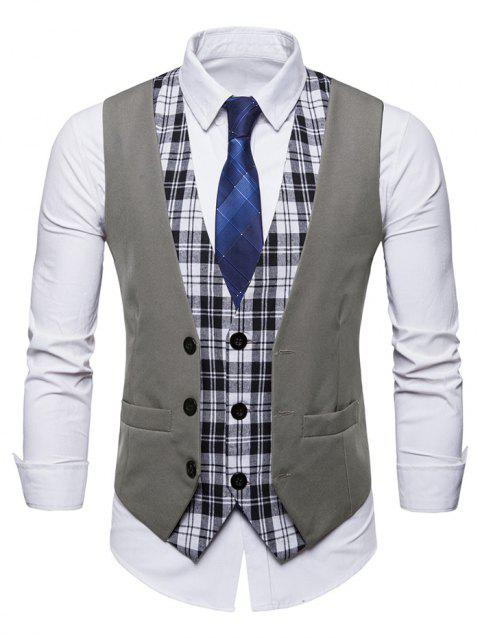 False Two Pieces  Double Breasted Vest - GRAY XS