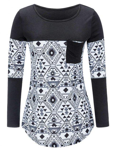 Round Neck Plus Size Geometric Pattern T-shirt - BLACK 2X