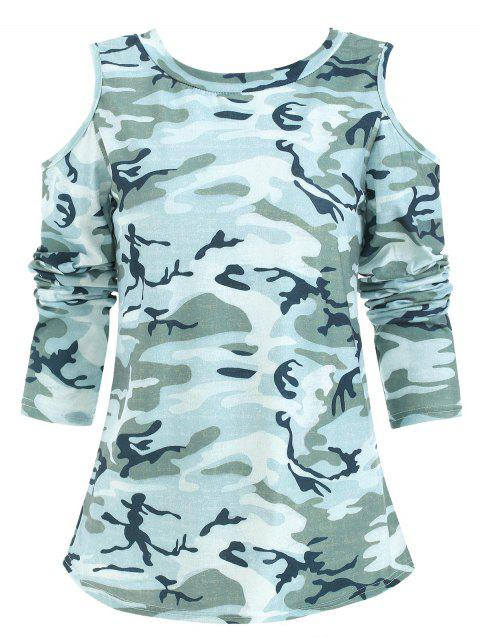 Cold Shoulder Camouflage Pullover T Shirt - ACU CAMOUFLAGE XL