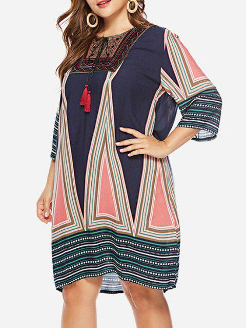 Plus Size Embroidery Geometric Pattern Shift Dress - multicolor 2X
