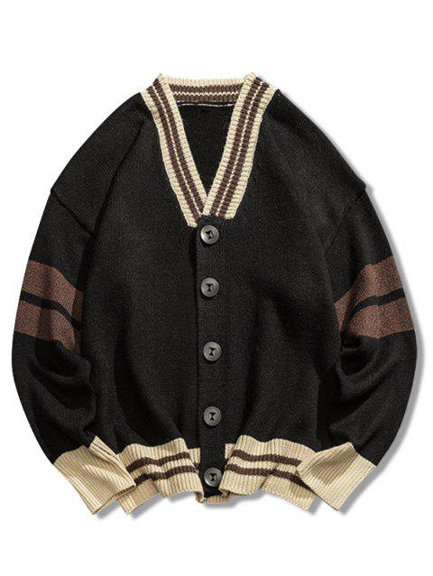 Casual Button Placket Loose Cardigan - BLACK M