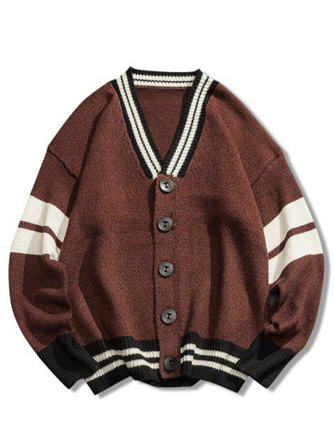 Casual Button Placket Loose Cardigan - COFFEE 3XL
