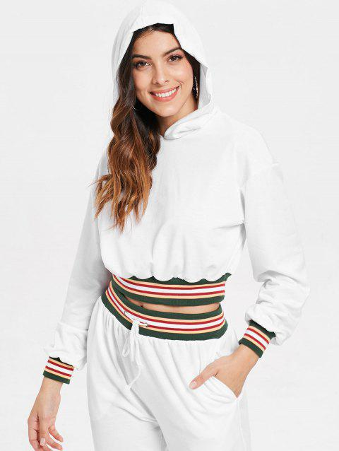 Colorful Striped Cropped Hoodie - WHITE M