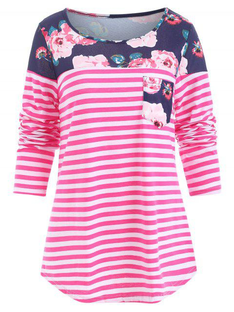 Printed Insert Pocket Striped T Shirt - HOT PINK M