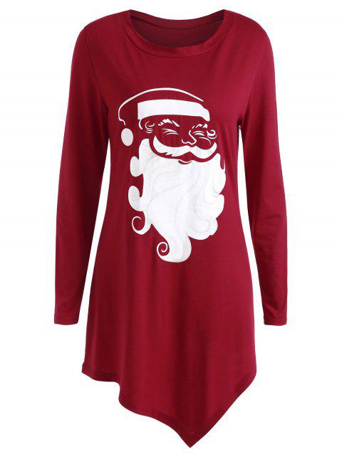 Plus Size Asymmetric Christmas T-shirt - RED 1X