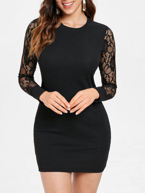 Mini Ribbed Sheer Sleeve Bodycon Dress - BLACK L
