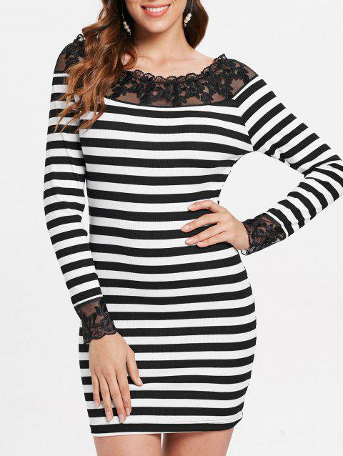 Striped Ribbed Lace Panel Bodycon Dress - BLACK XL