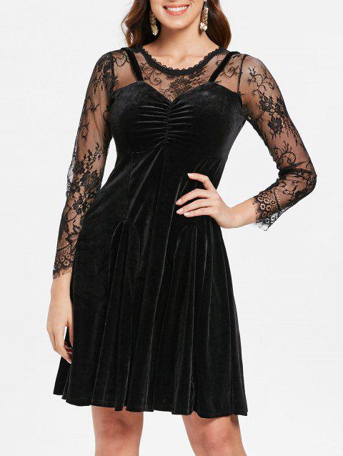 Layered Effect Lace Velvet Skater Dress - BLACK XL