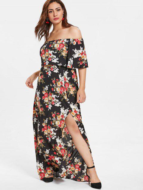 Plus Size Floral Off Shoulder Maxi Dress - multicolor 2X