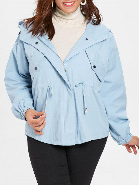 Plus Size Waist Drawstring Jacket - LIGHT BLUE 3X