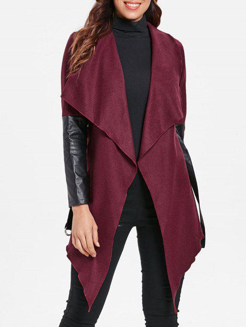 PU Leather Insert Draped Collar Cardigan - RED WINE XL