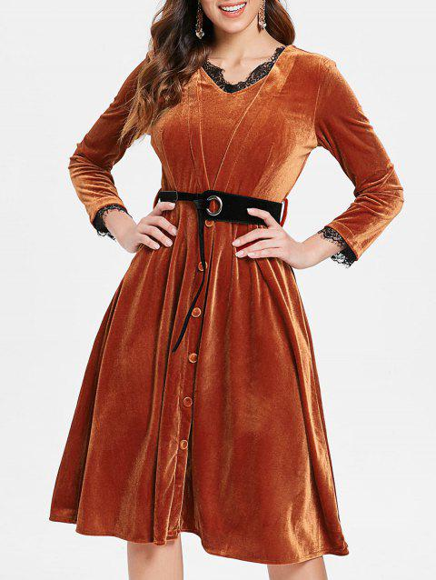 Lace Trim Long Sleeve Velvet Flare Dress - BROWN 2XL