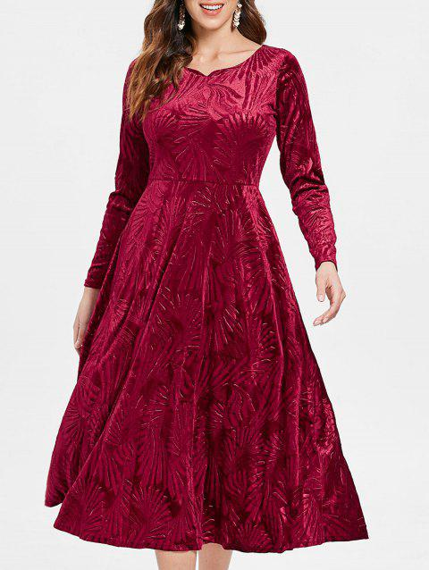 Long Sleeve High Waist Velvet Dress - RED WINE M