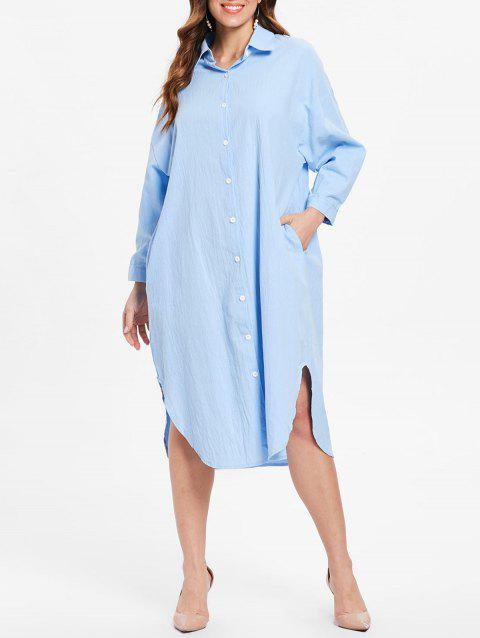 Cuff Sleeve Button Up Midi Dress - LIGHT BLUE ONE SIZE