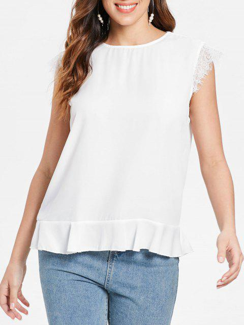 Lace Panel Flounce Tank Top - WHITE L