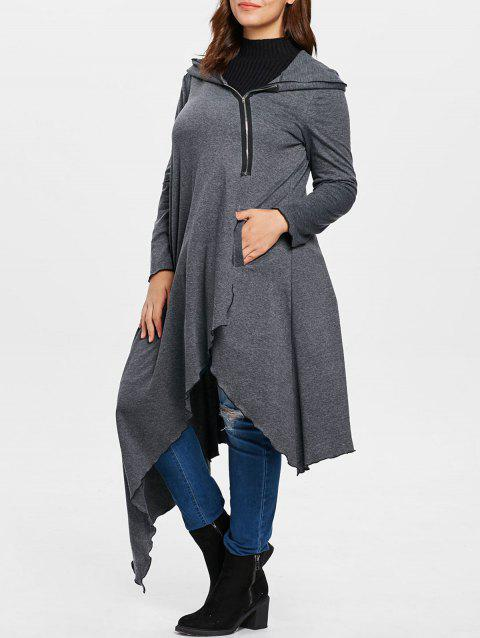 Plus Size Asymmetrical Long Zip Up Hoodie - CARBON GRAY 1X