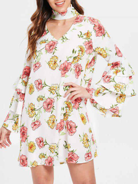 Choker Neck Floral Dress