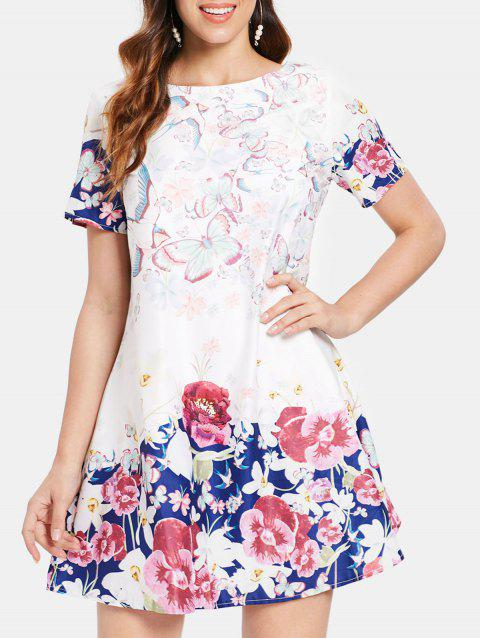 Butterfly and Flower Print Dress - WHITE L