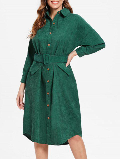 Long Sleeve Corduroy Shirt Dress - DARK GREEN L
