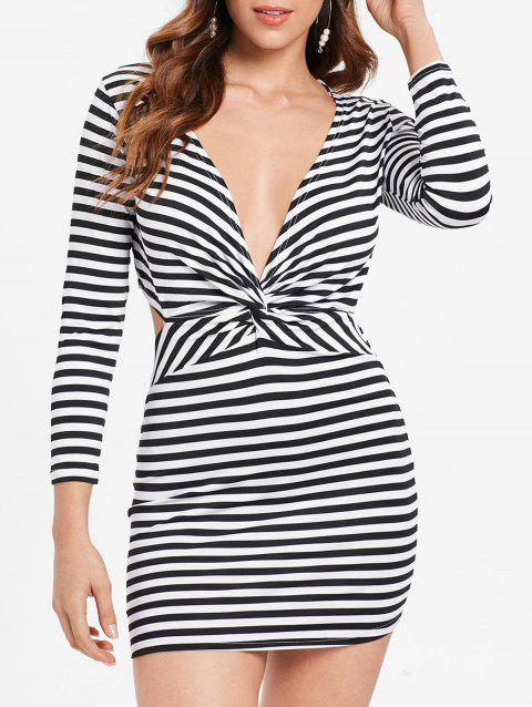 Plunging Striped Backless Bodycon Dress - multicolor M